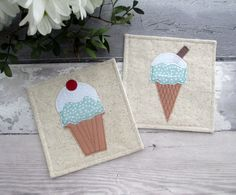 Ice Cream Coasters, Party Coasters, Party Decor, Fabric Coasters, Birthday Gift, Drink Coasters, Summer Decor, Gift For Her, Table Decor by TheCornishCoasterCo on Etsy