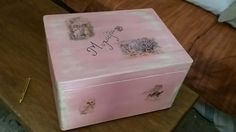 Christening gift box.  Painted with Annie Sloan Versailles and Scandinavian pink. #vaftisi