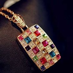 Lady's Multi Color Rhinestone Geometrical Necklace on buytrends.com