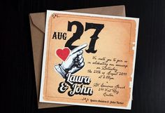 """DIY vintage Wedding invitation suite with red heart / Engagement invitation / Scrapbook invites / """"Something Old"""" Retro Wedding Invitations, Engagement Invitations, Wedding Logos, Wedding Invitation Design, Invitation Suite, Invites, Typography Love, Something Old, Response Cards"""