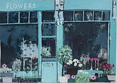 I'm loving these wonderful 'shop front' paintings by British Artist and illustrator Charlotte Hardy In a world of large retailers and brand. Modern Oil Painting, Love Painting, Painting & Drawing, Gouache, Graphic Design Illustration, Illustration Art, Illustrations, Art Fair, Painting Inspiration