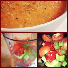 Raw Organic Gazpacho 6 tomatoes 1 Red Pepper 1 Stick Celery 1 Small Carrot 1/2 Red Onion 2 Small Red Chillies (or to taste) 1 Clove Garlic 4 tbsp Apple Cider Vinegar Sea Salt/Black Pepper to season Pinch Basil