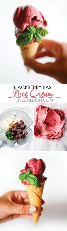 This healthy Blackberry Basil Nice Cream recipe has only three ingredients and comes together in just 5 minutes! It's a creamy, decadent alternative to soft serve ice cream and you don't need any fancy equipment to make it. Family dessert time just got real tasty! // Live Eat Learn