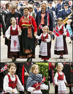 Ready for Royalty:  May 17, Oslo and London- The Norwegian Royal Family celebrated National Day separately this year.  Princess Martha Louise's family took part in a parade in London, where they primarily reside.  Martha Louise is shown here with husband Ari Behn and daughters Maud, Leah, and Emma (youngest).