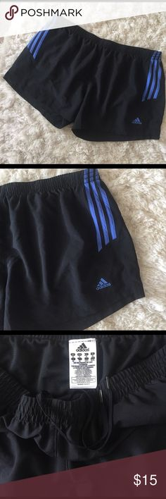 Adidas Running Athletic Shorts XL EUC Black and blue running shorts by adidas. Size XL. Elastic waist with hidden drawstring. Attached underwear. Adidas Shorts