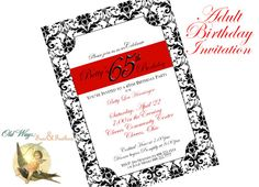 Formal Adult Birthday Party Invitation Black and White Damask with Red - Printable Custom Invite DIY 5x7 Digital JPEG PDF Files. $14.00, via Etsy.
