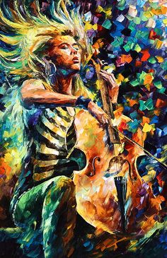 Chelo Player | Musician Painting Oil On Canvas by Leonid Afremov with Pin-It-Button on FineArtAmerica