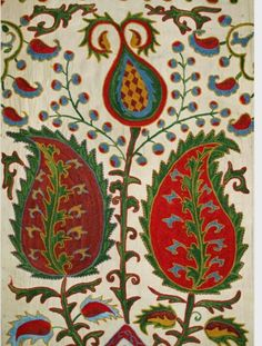 """Stunning Bold UZBEK Hand Silk Embroidery Suzani """"Rich Peppers"""" Fr Bukhara I love the big leaves and tipped flower. Indian Patterns, Textile Patterns, Textile Prints, Textile Design, Motif Paisley, Paisley Pattern, Abstract Pattern, Granada, Textile Fiber Art"""