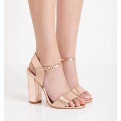GUESS Schuhe Absatz Sandaletten glänzende Damen Pumps in Glitter Optik Rosé Gold