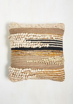 Masterfully Natural Pillow by Karma Living - Multi, Stripes, Dorm Decor… 70s Home Decor, Cute Home Decor, Natural Pillows, Weaving Projects, Weaving Designs, Woven Wall Hanging, Cozy Bed, Loom Weaving, Decorative Pillow Covers