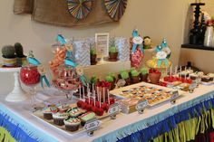 mexican themed baby shower | The Inspired Occasion: Client Styling - Fiesta Mexicana Theme.  I think those are cactus cupcakes in the little terra cotta pots.