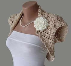 Hand-knitted Bolero Jacket Shrug Wrap Sweater with cap Sleeves Crochet Shawls And Wraps, Crochet Scarves, Crochet Clothes, Crochet Hooks, Knit Crochet, Bolero Crochet, Crochet Crafts, Knit Shrug, Crochet Jacket