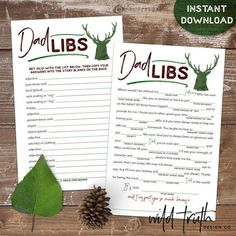 "Ready to print & play in just minutes! Dad Libs ""madlibs"" are the perfect Father's day activity for kids young & old and are sure to get loads of laughs! Graduation Party Games, Birthday Games, High School Graduation, Graduate School, Father's Day Games, Father's Day Activities, Dad Birthday Card, Mad Libs, Online Printing Companies"