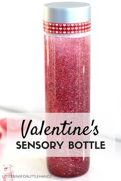 This Valentines sensory bottle is amazing! It's inexpensive, quick, and easy for kids to make. Make a glitter glue sensory bottle for relaxation and play! Valentine Sensory, Valentine Theme, Valentines Day Activities, Valentine Day Crafts, Holiday Crafts, Homemade Valentines, Holiday Activities, Valentine Ideas, Glitter Sensory Bottles