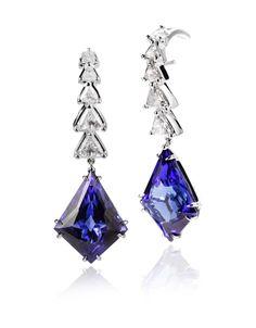 Ara Vartanian high jewellery tanzanite earrings in white gold with diamonds.