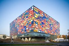 The Netherlands Institute for Sound and Vision is one of the most unique constructions in the world. The building is in the shape of a cube and is covered with colored cast-glass panels. It has a total of 10 floors, half of which are underground. The night view of the building is particularly mesmerizing.