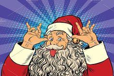 Buy Santa Claus Teases Good Sense of Humor by studiostoks on GraphicRiver. Santa Claus tease, good sense of humor, pop art retro vector illustration Art Christmas Presents, Xmas Cards, Merry Christmas, Desenho Pop Art, California Christmas, Christmas Comics, Naughty Santa, Pop Art Girl, Pop Characters