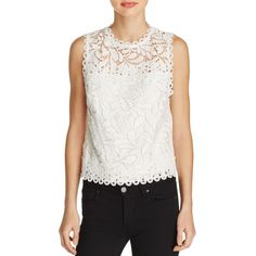 Parker Fallon Lace Top (€180) ❤ liked on Polyvore featuring tops, ivory, sheer lace top, ivory top, lacy tops, white scallop top and white top