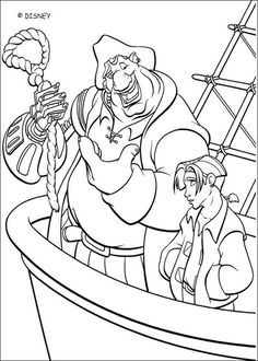 Coloring Page Of The Disney Movie Treasure Planet Color Jim And Dr Doppler More Content On Hellokids