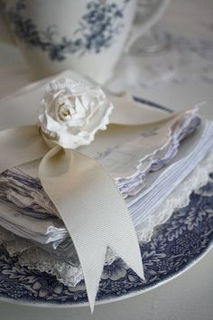 vintage linens with blue and white dishes