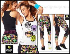 ZUMBA 2 Piece Set!!! Zmoji Racerback Top Tank Tee + Mesh Capri Perfect Leggings  #ZumbaFitness #PantsLeggingsCapriRacerbackTopShirtTankTee