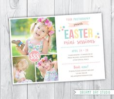 Easter Mini Sessions 7 x 5 - INSTANT DOWNLOAD    *** PLEASE READ LISTING DESCRIPTION BEFORE PURCHASE ***    You will need basic knowledge of ADOBE PHOTOSHOP or ADOBE ELEMENTS to make changes in templates.    ---------------------------------------------------------------  ★★ WHAT YOU WILL RECEIVE ★★  ---------------------------------------------------------------  :: 1 flat card design, 7x5 inches  :: PSD layered file  :: Easily customize colors and text  :: Compatible with Adobe Photoshop…