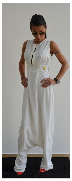 White Maxi Jumpsuit / White woman jumpsuit by ClothesByLockerRoom