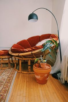 a rattan papasan chair with a rust velvet futon and a matching footrest plus some potted plants Room Ideas Bedroom, Bedroom Decor, Papasan Chair, Aesthetic Room Decor, Cozy Room, Home And Deco, Dream Rooms, New Room, Home Decor Inspiration