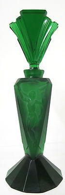 Antique Perfume Bottle - Emerald Green - Art Deco Relief - 1920's Nude