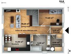 Proiect deosebit de casa cu mansarda cu 4 dormitoare cu arhitectura moderna – Idei case Floor Plans, Floor Plan Drawing, House Floor Plans