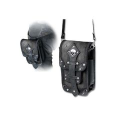 Empire Aviator Pouch Bag by Alchemy Gothic ($52) ❤ liked on Polyvore featuring bags, handbags, vintage purses, genuine leather handbags, vintage leather handbags, gothic purse and real leather purses
