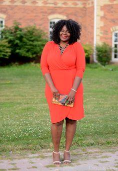 Plus size fashion for women. H&M orange dress