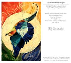 ART SATSANG: Formless takes Flight, Acrylic and oil painting on canvass by Colleen-Joy