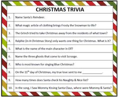 Trivia Game Kam would love this! Make it into a cool game for the whole family :-) Printable Christmas Trivia Game (Free Printables)Kam would love this! Make it into a cool game for the whole family :-) Printable Christmas Trivia Game (Free Printables) Christmas Trivia Games, Xmas Games, Holiday Games, Christmas Activities, Christmas Traditions, Holiday Fun, Holiday Ideas, Holiday Trivia, Abc Games