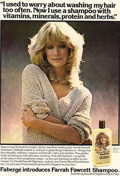 Farrah Fawcett Shampoo for Faberge Ad 1978 Retro Advertising, Retro Ads, Vintage Advertisements, Vintage Ads, 1970s Hairstyles, Vintage Hairstyles, Farrah Fawcett, Beauty Ad, Hair Beauty