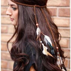 Exotic Boho Vacation Feather Leather Headband Hair Band Hair Jewelry  Long…