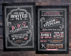 Floral rustic BOHO BabyQ chalkboard couples co-ed by LyonsPrints