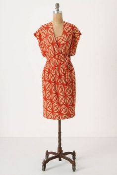 Anthropologie Counting Angles Dress Sz S & L, Dark Orange Linen By Tracy Reese Dresses For Sale, Cute Dresses, Vintage Dresses, Tracy Reese Dress, Knee Length Shorts, Vogue, Kimono Fashion, Dress Outfits, Anthropologie
