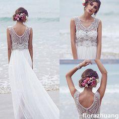 2015 Bohemian Strand Brautkleid V-Ausschnitt Luxus Perlen Chiffon Hochzeitskleid