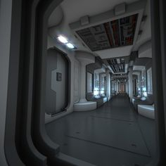 corridor number nine zillion, laboratory, spaceship, cyberpunk, future, futuristic interior
