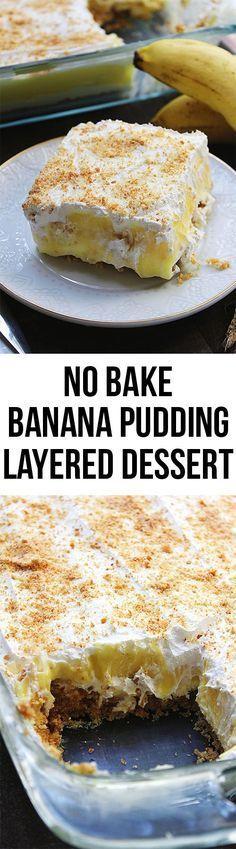 No Bake Banana Pudding Layer Dessert - buttery vanilla wafer layer cheesecake banana pudding and whipped topping! No Bake Banana Pudding Layer Dessert - buttery vanilla wafer layer cheesecake banana pudding and whipped topping! Layered Desserts, Easy Desserts, Delicious Desserts, Yummy Food, Banana Recipes, Cake Recipes, Dessert Recipes, Pudding Desserts, No Bake Banana Pudding