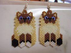 Beaded Himalyan Persian Siamese Cat Earrings