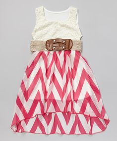 Love this Fuchsia & White Zigzag Lace Belted Dress - Girls by Just Kids on #zulily! #zulilyfinds