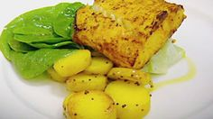 Tandoori spiced halibut fillets with cucumber  Recipe by Gordon Ramsay from The F Word