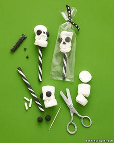 Skull Pops  Kids can help transform innocent white marshmallows into terrifying skull treats for Halloween.