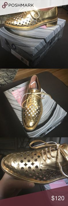 Jeffrey Campbell Novak Cut Gold Oxfords Gold leather oxfords, brand new, never worn, comes with original box and dust bags for both shoes Jeffrey Campbell Shoes Flats & Loafers