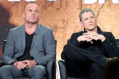 Prison Break Actors Dominic Purcell (L) and Wentworth Miller speak onstage during the 2017 Winter Television Critics Association Press Tour