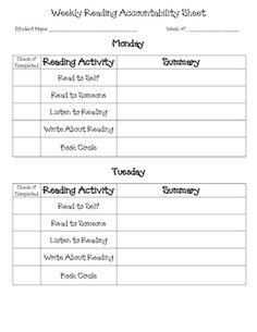 Daily 5 Weekly Accountability Sheet