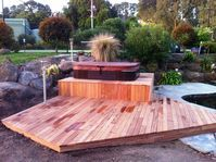 Decking Spa Pakenham Upper, Ground Up Garden Renovators Landscaper Pakenham  www.gardenrenovators.com.au Concrete Retaining Walls, Deck With Pergola, Decks, Melbourne, Up, Gardening, Landscape, Building, Outdoor Decor