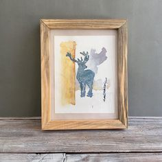 Original Watercolor Deer,  Contemporary Art, Deer Silhouette Original, Abstract Drawing, Art Lover Gift, Modern Art Decor, Forest Animal